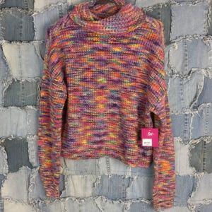 NWT slouchy rainbow yarn cowl neck sweater